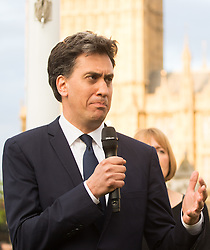 Parliament Square, Westminster, London, June 17th 2016. Following the murder of Jo Cox MP a vigil is held as friends and members of the public lay flowers, light candles and leave notes of condolence and love in Parliament Square, opposite the House of Commons. PICTURED: Ed Miliband addresses the gathering