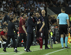 May 9, 2019 - Valencia, Valencia, Spain - Ozil and Unai Emery of Arsenal in action during UEFA Europa League football match, between Valencia and Arsenal, May 09th, in Mestalla stadium in Valencia, Spain. (Credit Image: © AFP7 via ZUMA Wire)