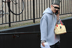 Xochitl from Xs-xs-xscom arrives at the Fashion East Autumn / Winter 2017 London Fashion Week show at Tate Modern, London on Saturday February 18, 2017
