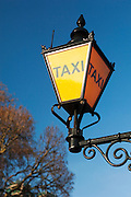 An old fashioned taxi rank sign, London, UK