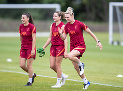WALLASEY, ENGLAND - Wednesday, July 28, 2021: Liverpool's Evie Smith, Leanne Kiernan and Rhiannon Roberts during a training session at The Campus as the team prepare for the start of the new 2021/22 season. (Pic by David Rawcliffe/Propaganda)