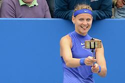 June 23, 2017 - Birmingham, England - LUCIE SAFAROVA of the Czech Republic takes a selfie after winning her quarterfinal match v. D. Gavrilova in the Aegon Classic Birmingham tennis tournament. (Credit Image: © Christopher Levy via ZUMA Wire)