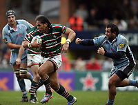 Photo: Rich Eaton.<br /> <br /> Leicester Tigers v Cardiff Blues. Heineken Cup. 13/01/2007.Alesana Tuilagi attacks for Leicester Tigers and is missed in the tackle by Gary Powell of Cardiff