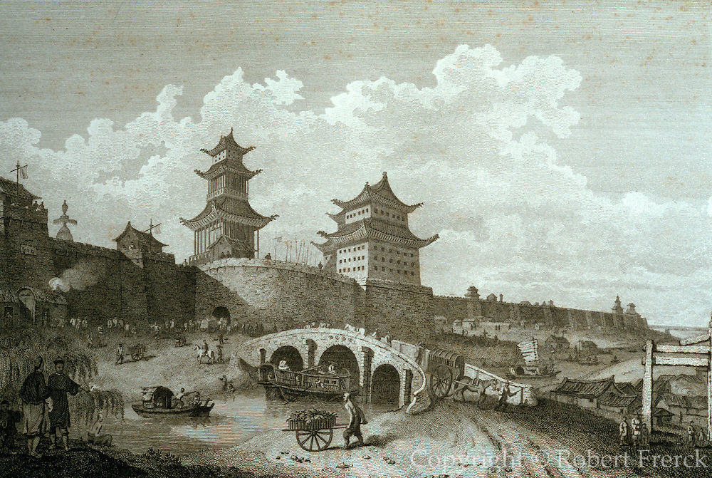 CHICAGO, MUSEUMS and ARTISTS 19th C European Engraving of the West Gate of Peking the Imperial City from the Art Institute of Chicago