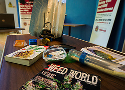 Pictured: drug paraphanalia<br /> <br /> Falkirk Town Hall hosted an event today aimed at raising awareness of cannabis cultivations across Forth Valley. The Weed Them Out campaign was launched by senior police officers including Detective Chief Inspector Laura Mcluckie. <br /> <br /> Ger Harley | EEm 31 May  2016
