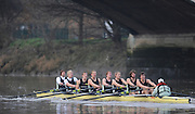 Putney, GREAT BRITAIN,  Crew Looks; left to right, Bow James STRAWSON. 2. Joel JENNINGS, 3. Code STERNAL, 4 Peter MARSLAND, 5. George NASH, 6. Henry PELLY, 7. Tom RANSLEY, stroke Silas STAFFORD and Cox Helen HODGES, during the 2008 Varsity/Cambridge University Trial Eights, raced over the championship course. Putney to Mortlake, Tue. 16.12.2008. [Mandatory Credit, Peter Spurrier/Intersport-images] Varsity Boat Race, Rowing Course: River Thames, Championship course, Putney to Mortlake 4.25 Miles,