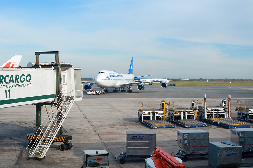 Ezeiza, Capital Federal, Buenos Aires, Argentina, South America -  Arriving of an airplane of Aerolineas Argentinas at Ezeiza airport, the main international airport in the city.