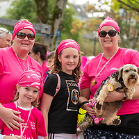 REPRO FREE<br /> Fiona Sinclair, Emery's Corish, Alena Walton and June Walton with Rocky from Dunderrow pictured at the 2019 Kinsale Pink Ribbon Walk in aid of the Irish Cancer Society Action Breast Cancer.<br /> Picture. John Allen