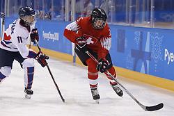 February 18, 2018 - Pyeongchang, KOREA - Switzerland forward Monika Waidacher (15) in a hockey game between Switzerland and Korea during the Pyeongchang 2018 Olympic Winter Games at Kwandong Hockey Centre. Switzerland beat Korea 2-0. (Credit Image: © David McIntyre via ZUMA Wire)