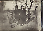 vintage photo of mothers walking with their children, 1915 Citee Carcassonne France