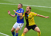 Football - 2019 / 2020 Premier League - Watford vs. Leicester City<br /> <br /> Watford's Craig Dawson battles with Leicester City's Jamie Vardy, at Vicarage Road.<br /> <br /> COLORSPORT/ASHLEY WESTERN