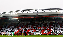 Tributes are made for formal Liverpool player and manager Bob Paisley prior to kick-off during the Premier League match at Anfield, Liverpool.