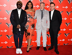 © Licensed to London News Pictures. 03/01/2018. London, UK. WILL.I.AM,  JENNIFER HUDSON, SIR TOM JONES and  OLLIE MURS and  attend the Launch of The Voice UK 2018 press launch on ITV. Photo credit: Ray Tang/LNP