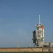 Shuttle Atlantis rests atop the launch pad at Kennedy Space Center Wednesday, July 6, 2011, in Cape Canaveral, Fla. Shuttle Atlantis is scheduled to launch on Friday, July 8 and is the 135th and final space shuttle launch for NASA..  (AP Photo/Alex Menendez)