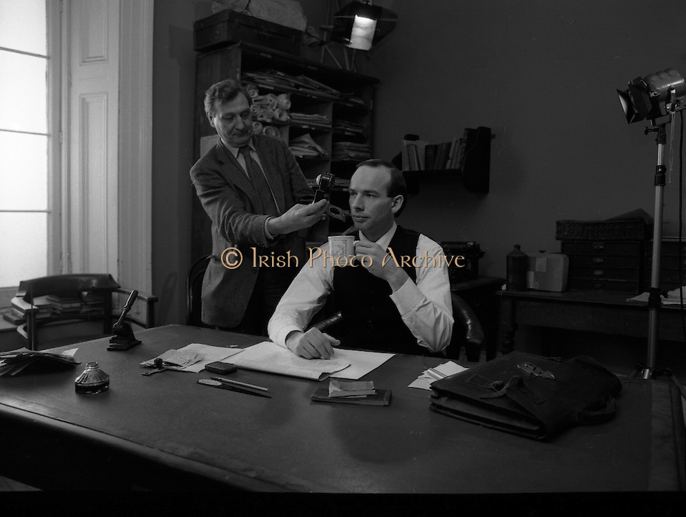 Patrick Pearse a film by Louis Marcus.    (N6)..1979..13.12.1979..12.13.1979..13th December 1979..A film on the Irish Patriot,Patrick was made by the Director, Louis Marcus.The film was to mark the centenary of Patrick Pearse's birth. The lead role was taken by renowned actor John Kavanagh.Others involved in the production were, Andy O'Mahoney, Niall Tobín,Denis Brennan and Derek Lord..The lighting director checks that the lighting is up to the mark before filming begins.