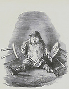 The British child caught between two stools, Voluntary and State education. John Leech cartoon from 'Punch', London, 1847.