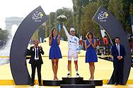 Podium, Hotess, Miss, Pierre Latour (FRA - AG2R - La Mondiale) white jersey, Arc de Triomphe during the 105th Tour de France 2018, Stage 21, Houilles - Paris Champs-Elysees (115 km) on July 29th, 2018 - Photo Luca Bettini / BettiniPhoto / ProSportsImages / DPPI