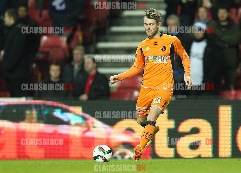 Mads Fenger of Randers FC in action during the Danish DBU Pokalen Cup match between FC København and Randers FC at Telia Parken on March 5, 2015 in Copenhagen, Denmark. (Photo by Claus Birch)