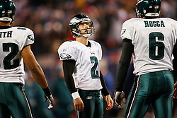 Philadelphia Eagles PK David Akers #2 reacts after an extra point attempt was blocked by the Giants during the NFL game between the Philadelphia Eagles and the New York Giants on December 13th 2009. The Eagles won 45-38 at Giants Stadium in East Rutherford, New Jersey. (Photo By Brian Garfinkel)