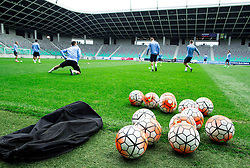 Balls during practice session of Slovenian National Football team two days before Euro 2016 Qualifying game between Slovenia and Lithuania, on October 7, 2015 in SRC Stozice, Ljubljana Slovenia. Photo by Vid Ponikvar / Sportida