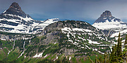 Going to the Sun Road, Glacier National Park, Montana -   Peaks (Heavy Runner, Reynolds) and Logan Pass
