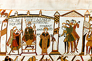 Bayeux Tapestry 1067. Harold II crowned King of England, 6 January 1066. Harold enthroned holding orb and sceptre, Archbishop Stigand on his right. Anglo-Saxon Coronation Ceremony Christian Textile Embroidery Linen