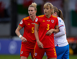 NEWPORT, WALES - Thursday, October 22, 2020: Wales' Rhiannon Roberts (L) and Gemma Evans during the UEFA Women's Euro 2022 England Qualifying Round Group C match between Wales Women and Faroe Islands Women at Rodney Parade. Wales won 4-0. (Pic by David Rawcliffe/Propaganda)