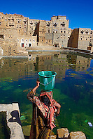 Yemen, région des Hauts Plateaux, Hababa, la Grande Citerne. // Yemen, central mountains, ancient town of Hababa, the cistern.