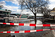 Cologne, Germany, February 4th. 2021, flood of the river Rhine, flooded promenade in the old part of the town.<br /> <br /> Koeln, Deutschland, 4. Februar 2021, Hochwasser des Rheins, uberflutete Promenade in der Altstadt.