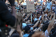 Thousands of protestors marched from Trafalgar Square to the US embassy in South London, to protest against the killing of an unarmed black man by police in the US. Sunday, May 31, 2020. (Photo/ Vudi Xhymshiti)