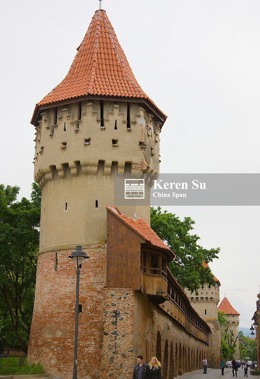 City wall and tower, Sibiu, Romania