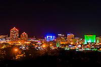 Downtown skyline at night, Albuquerque, New Mexico USA