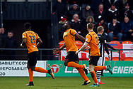 John Akinde of Barnet © celebrates after scoring his team's first goal. EFL Skybet Football League two match, Barnet v Lincoln City at the Hive in London on Saturday 20th January 2018. <br /> pic by Steffan Bowen, Andrew Orchard sports photography.