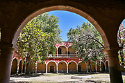 The Iglesia de San Diego De Alcalá as seen from the entry to the Hacienda de Jaral de Berrio in Jaral de Berrios, Guanajuato, Mexico. The abandoned Jaral de Berrio hacienda was once the largest in Mexico and housed over 6,000 people on the property.