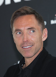 April 19, 2018 - Los Angeles, California, U.S - The 2018 International Champions Cup organizers announced the teams and schedule for the summer soccer tournament featuring top European clubs during a press conference on Thursday April 19, 2018 at OUE Skyspace LA in Los Angeles, California. NBA legend, Steve Nash answers a question by Charlie Stillitano executive chairman of RELEVENT. (Credit Image: © Prensa Internacional via ZUMA Wire)