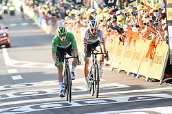 Sam BENNETT (IRL) in the points classification green jersey and Peter SAGAN (SVK) pictured rushing for the line at the end of stage 19 of Tour de France cycling race, over 166,5 kilometers (103.4 miles) with start in Bourg-en-Bresse and finish in Champagnole, France,Friday, September 18, 2020.//JEEPVIDON_1615003/2009191625/Credit:jeep.vidon/SIPA/2009191625 / Sportida