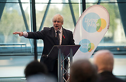 © London News Pictures. 05/11/2012. London, UK.  Mayor of London BORIS JOHNSON speaking at The Chamber, at City Hall in London to announce a rise in the London Living wage by 25p to £8.55, on November 5, 2012. The mayor was joined by employers, borough leaders and representatives of the Living Wage Foundation at the announcement. Photo credit: Ben Cawthra/LNP.