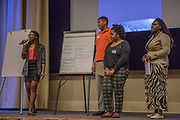 Purchase, NY – 31 October 2014. The team from Palisade Preparatory School presenting. (Left to right: Owanate Kio-Amieyeofori, Troy Edwards, Aleah Blair, Tyquana Johnson,) The Business Skills Olympics was founded by the African American Men of Westchester, is sponsored and facilitated by Morgan Stanley, and is open to high school teams in Westchester County.