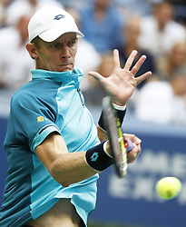 NEW YORK, Sept. 11, 2017  Kevin Anderson of South Africa hits a return during the Men's singles final match against Rafael Nadal of Spain at 2017 US Open in New York, the United States, Sept. 9, 2017. Rafael Nadal won 3-0 to claim the title. (Credit Image: © Qin Lang/Xinhua via ZUMA Wire)