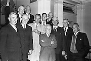 A group of former All-Ireland players, among whom were five who played in Croke Park on Bloody Sunday 1920, were guests at a showing of the Gael-Linn film 'Peil' at the Metropole cinema. Included are Paddy McDonnell, John Synott, Tommy Ryan, John McDonnell, Stephen Synott, Tony Herbery, Dan Dunne, Tommy Moore, Mattie Power, Tim O'Donnell and Pat Synott. 29.04.1963