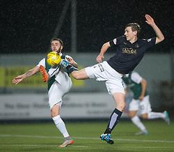 Hibernian's James Keating and Falkirk's Blair Alston. Falkirk 0 v 1 Hibernian, Scottish Championship game played 20/10/2015 at The Falkirk Stadium.