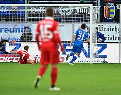 28.02.2015, Rhein Neckar Arena, Sinsheim, GER, 1. FBL, TSG 1899 Hoffenheim vs 1. FSV Mainz 05, 23. Runde, im Bild TOR zum 1:0 durch Kevin Volland TSG 1899 Hoffenheim <br />Torschuss (rechts) <br /><br />TSG 1899 Hoffenheim gegen FSV Mainz 05<br />Fussball Herren GER <br />1. Bundesliga Spieltag 23<br />23. Spieltag<br />Saison 2014 2015 Sinsheim-Hoffenheim Wirsol Rhein-Neckar-Arena<br />28.02.2015 // during the German Bundesliga 23rd round match between TSG 1899 Hoffenheim and 1. FSV Mainz 05 at the Rhein Neckar Arena in Sinsheim, Germany on 2015/02/28. EXPA Pictures © 2015, PhotoCredit: EXPA/ Eibner-Pressefoto/ Weber<br /> <br /> *****ATTENTION - OUT of GER*****
