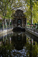 Fontaine Medicis - The Medici Fountain is an historical fountain designed like a grotto reminiscent of  Boboli Gardens in Italy where Marie de Medici grew up. Marie had this commissioned for the Jardin du Luxembourg when her palace was constructed in the 1600s.  Marie de Medici was the widow of King Henri IV and regent for King Louis XIII who was not happy living at The Louvre and wanted her own palace in Paris constructed in an Italian style that would remind her of where she grew up in the Palazzo Pitti in Florence.  The grounds of the Luxembourg Palais as well as the Medici Fountain are open to the public these days as a public park, even though Palais Luxembourg is where lawmakers and senators of France gather to enact and review laws.