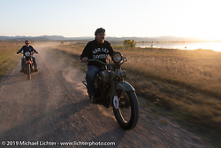 Jaon Sims and Cole Deister ride antique Harley-Davidsons on the one rest day of the Motorcycle Cannonball coast to coast vintage run. Rest day in Sturgis, SD. Monday September 17, 2018. Photography ©2018 Michael Lichter.