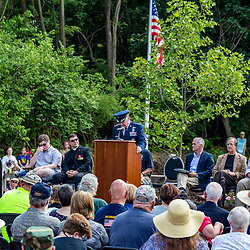 Ephrata, PA, USA - May 25, 2015: Community speak during the dedication ceremony of WWII Band of Brothers Commander Major Richard Winters Memorial.