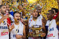 22-09-2013 BASKETBAL: EK FINALE FRANKRIJK - LITOUWEN: LJUBLJANA<br /> Nicolas Batum #5 of France, Tony Parker #9 of France, Boris Diaw #13 of France, Charles Kahudi #8 of France celebrate as European Champions 2013 after they won during basketball match between National teams of France and Lithuania<br /> ***NETHERLANDS ONLY***<br /> ©2012-FotoHoogendoorn.nl