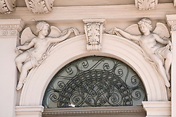 Putto figures on building, Budapest, Hungary
