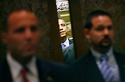Secret Service agents provide security for US Democratic presidential candidate Senator Barack Obama (D-IL) as he boards an elevator at his hotel in Berlin, July 24, 2008.    REUTERS/Jim Young