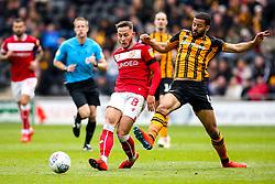 Josh Brownhill of Bristol City takes on Kevin Stewart of Hull City - Mandatory by-line: Robbie Stephenson/JMP - 05/05/2019 - FOOTBALL - KCOM Stadium - Hull, England - Hull City v Bristol City - Sky Bet Championship