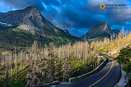 Going to the Sun Road in morning light in Glacier National Park, Montana, USA